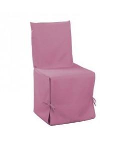 DOUCEUR D\'INTERIEUR Housse de chaise unie a nouettes 50x50x50 cm Essentiel dragée