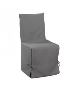 DOUCEUR d\'INTERIEUR Housse de chaise unie a nouettes 50x50x50 cm Essentiel gris