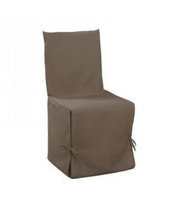 DOUCEUR d\'INTERIEUR Housse de chaise unie a nouettes 50x50x50 cm Essentiel taupe