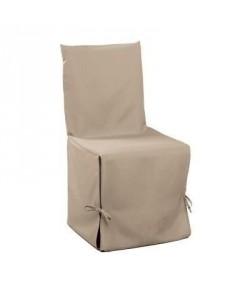 DOUCEUR D\'INTERIEUR Essentiel Housse de chaise unie a nouettes 50x50x50 cm  Beige