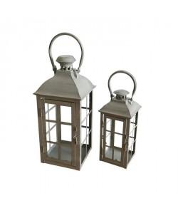 HOMEA Set de 2 lanternes en métal H2738,5 cm gris