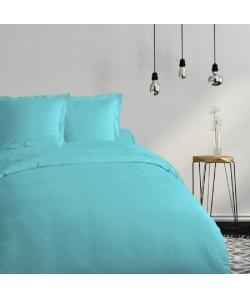 COTE DECO Housse de couette 100% coton 240x260 cm  Bleu turquoise