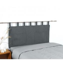 COTE DECO Tete de lit matelassée Microfibre lavée MOJI 140x65 cm  Gris anthracite
