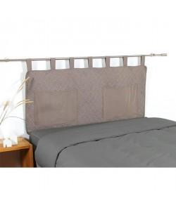 COTE DECO Tete de lit matelassée Microfibre lavée MOJI 140x65 cm  Beige