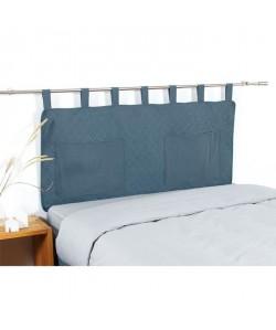 COTE DECO Tete de lit matelassée Microfibre lavée MOJI 140x65 cm  Bleu denim