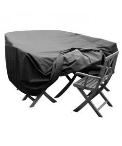 GREEN CLUB Housse de protection pour salon de jardin table  6 a 8 chaises  250x150x65 cm  Anthracite