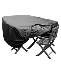 GREEN CLUB Housse de protection pour salon de jardin table  6 chaises  240x136x65 cm  Anthracite