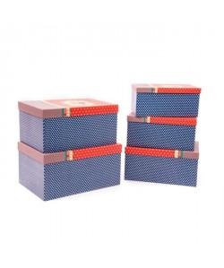 Lot de 5 Boîtes de Noël bleu 50x35x25cm
