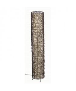 Lampadaire cylindre en métal et rotin tressé avec diffuseur  H 110cm  Ř 21cm