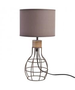 Lampe a poser/chevet filaire Vasco avec abatjour assorti hauteur 37 cm diametre 22 cm E14 4W taupe