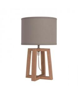 Lampe a poser/chevet Beker avec abatjour hauteur 38 cm diametre 22 cm E14 40W naturel et taupe