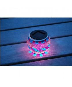 Lanterne solaire décorative, verre effet mosaique