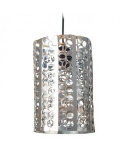 Lustre  suspension métal perfore, forme cylindrique