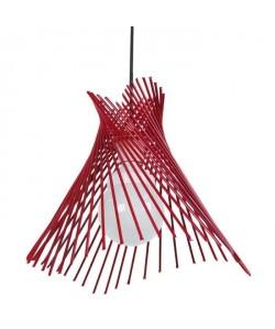 MIKADÔ Lustre  suspensions, fil métal en cône, diametre 35 cm, rouge