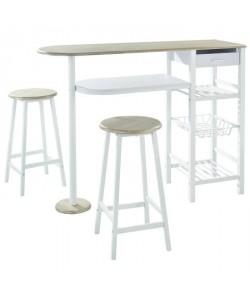 JULIA Ensemble Table bar 2 personnes style contemporain en métal laqué blanc et MDF décor chene  2 tabourets  l 119 x L 37 cm