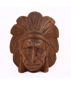 Masque indien bois brut  H 20 cm