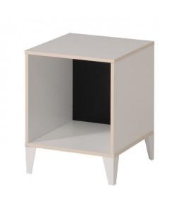 KAREA Cube de rangement 1 case scandinave décor blanc et acacia clair  L 36 cm