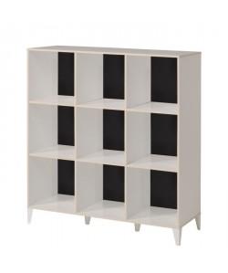 KAREA Cubes de rangement 9 cases scandinave décor blanc et acacia clair  L 104 cm