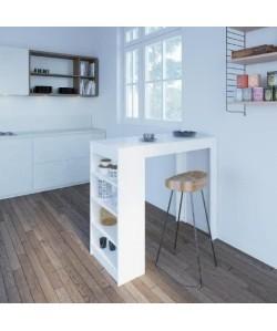 CHILI Table bar de 2 a 4 personnes style contemporain blanc mat  L 115 cm