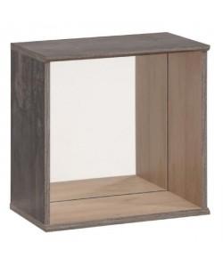 CARA Étagere décorative carrée avec miroir 35x34x19 cm décor chene brooklyn et pin brűlé