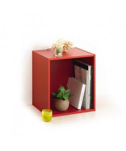 HOMEA Cube de rangement avec 1 niche 34,4x34,4x29,5 cm rouge