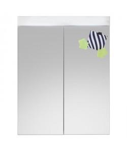 AMANDA Armoire de toilette mélaminé L 60 cm  Blanc mat et blanc brillant