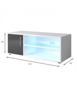 KORA Meuble TV contemporain avec éclairage LED laqué gris  L 100 cm