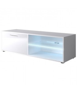 KORA Meuble TV contemporain blanc brillant  L 118cm