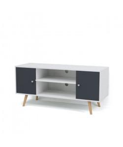 BABETTE Meuble TV scandinave pieds en eucalyptus gris foncé et blanc  L 116 cm