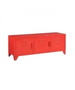 CAMDEN Meuble TV industriel en métal rouge laqué  L 120 cm