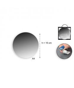 Lot de 4 miroirs adhésifs ronds en verre  Ř 15 x 2 cm