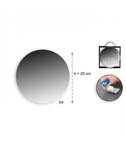 Lot de 4 miroirs adhésifs ronds en verre  Ř 20 x 4 cm