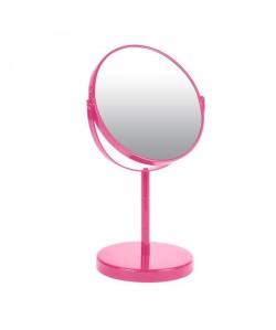 Miroir sur pied grossissant x1 / x2 métal Fuchsia
