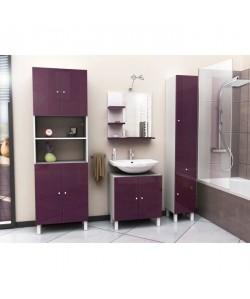 CORAIL Meuble miroir de salle de bain L 60 cm  Aubergine Laqué
