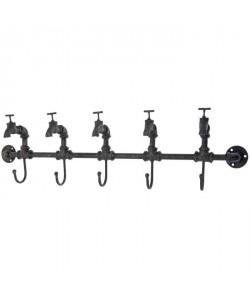 Décoration murale 5 robinets  Avec 5 crochets  83x10x32cm  Noir