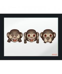 Image imprimée  30 x 40cm  Bois  Emoji 3 singes