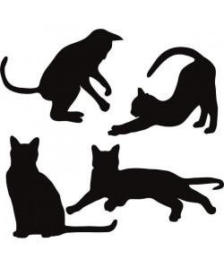 WALL IMPACT Stickers Silhouettes de chats  30x28x1 cm  Vinyle calandré monomérique