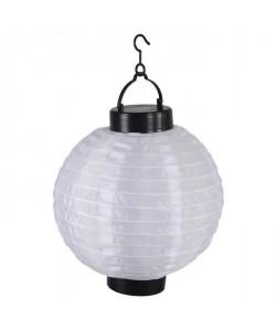Lanterne chinoise solaire en plastique Ř20cm  Blanc