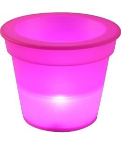 HOMEA Pot Lumineux En Plastique A Piles  1Led O16*H13Cm Fuchsia