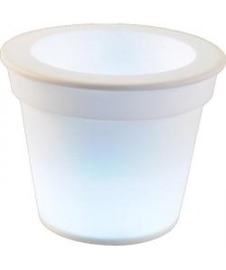 HOMEA Pot Lumineux En Plastique A Piles  1Led O16*H13Cm Blanc