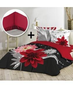 DOUCEUR D\'INTERIEUR MARIABELLA Pack 100% coton  Parure de couette 220x240cm  drap housse 140x190cm