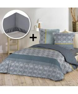 DOUCEUR D\'INTERIEUR Pack MARISIANE 100% coton  Parure de couette 220x240cm  drap housse 140x190cm