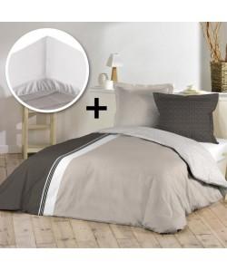 DOUCEUR D\'INTERIEUR Pack AURORE 100% coton  Parure de couette 220x240cm  drap housse 140x190cm