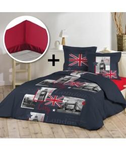 DOUCEUR D\'INTERIEUR Pack TAMISE 100% coton  Parure de couette 220x240cm  drap housse 140x190cm