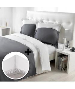 DOUCEUR D\'INTERIEUR Pack RELIGIEUSE 100% coton  Parure de couette 220x240cm  drap housse 140x190cm