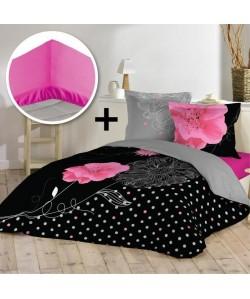 DOUCEUR D\'INTERIEUR Pack ROSALA 100% coton  Parure de couette 220x240cm  drap housse 140x190cm
