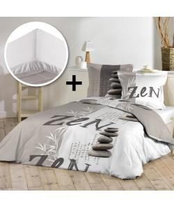 DOUCEUR D\'INTERIEUR Pack STONES ZEN 100% coton  Parure de couette 220x240cm  drap housse 140x190cm