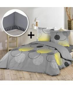 DOUCEUR D\'INTERIEUR Pack WOODY 100% coton  Parure de couette 220x240cm  drap housse 140x190cm