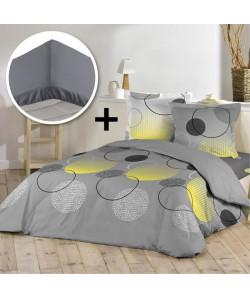 DOUCEUR D\'INTERIEUR Pack WOODY 100% coton  Parure de couette 240x260cm  drap housse 160x200cm