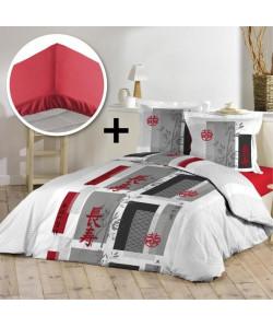 DOUCEUR D\'INTERIEUR Pack NIPPON 100% coton  Parure de couette 220x240cm  drap housse 140x190cm